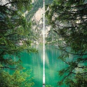 Curtains Hidden Lake Mountain Print Backdrop 9292
